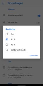 Kameraeinstellungen | Rastertyp auswählen